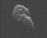 Radar imagery of asteroid Toutatis taken by NASA's Goldstone Solar System Radar on Dec. 12 and 13, 2012