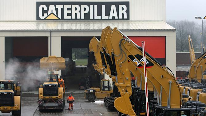 FILE - This Thursday, Feb. 28, 2013, file photo shows a parking lot at Caterpillar Belgium, in Gosselies, Belgium. Caterpillar Inc. reports quarterly financial results on Wednesday, Oct. 23, 2013. (AP Photo/Yves Logghe, File)