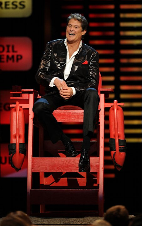 "David Hasselhoff onstage at the ""Comedy Central Roast Of David Hasselhoff"" held at Sony Pictures Studios on August 1, 2010 in Culver City, California."