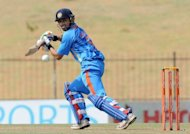 Indian batsman Gautam Gambhir plays a shot during the second one-day international against Sri Lanka at the Suriyawewa Mahinda Rajapakse stadium in Hambantota. India were bowled out for 138 in 33.3 overs after electing to bat in the second one-day international against Sri Lanka in Hambantota on Tuesday