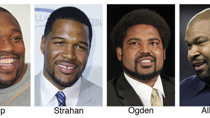FILE - These file photos show, from left, Warren Sapp in 2011; Michael Strahan in 2011; Jonathan Ogden in 2012 and Larry Allen in 2011. The four are among 15 modern-era finalists for the Pro Football Hall of Fame, the hall announced Friday, Jan. 11, 2013. (AP Photo/File)