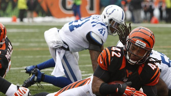 Cincinnati Bengals running back BenJarvus Green-Ellis (42) scores a touchdown on a one-yard run in the first half of an NFL football game against the Indianapolis Colts, Sunday, Dec. 8, 2013, in Cincinnati. (AP Photo/David Kohl)