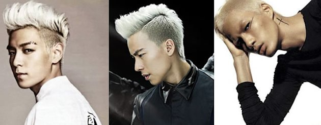 K-pop group Big Bang's T.O.P, Nat Ho and local model Colin Wee sport a similar blonde hairdo. (Photos from Ho's blog)