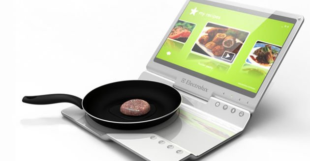 Concept laptop includes stove top and touch screen monitor