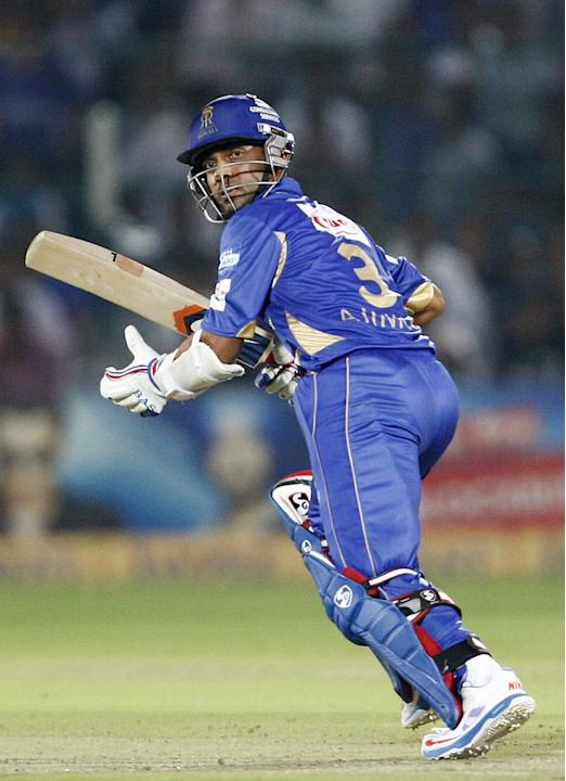Rajasthan Royals batsman Ajinkya Rahane in action during the CLT20 1st Semi-Final between Rajasthan Royals and Chennai Super Kings at Sawai Mansingh Stadium in Jaipur on Oct. 4, 2013.
