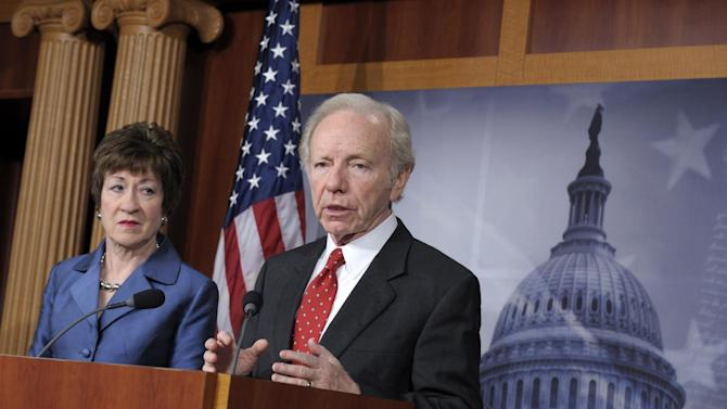 Senate Homeland Security Committee Chairman Sen. Joseph Lieberman, I-Conn., right, accompanied by the committee's ranking Republican, Sen. Susan Collins, R-Maine, speaks during a news conference on Capitol Hill in Washington, Monday, Dec. 31, 2012, to discuss the committee's report on the security deficiencies at the temporary U.S. Mission in Benghazi, Libya. (AP Photo/Susan Walsh)