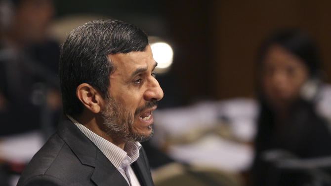 Iranian President Mahmoud Ahmadinejad speaks at a high level meeting in the United Nations General Assembly at United Nations headquarters Monday, Sept. 24, 2012.  (AP Photo/Seth Wenig)