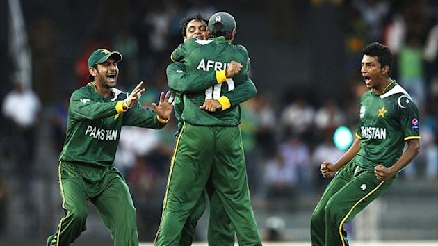 Pakistan celebrate at the World Twenty20 (Reuters)