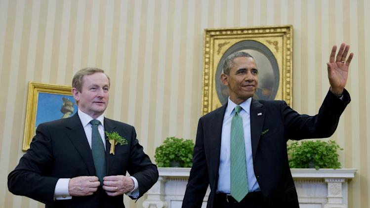 President Barack Obama meets with Irish Prime Minister Enda Kenny in the Oval Office of the White House in Washington, Friday, March 14, 2014. (AP Photo/Pablo Martinez Monsivais)