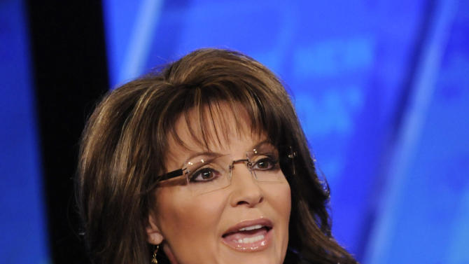 FILE - In this Sunday, Feb. 12, 2012 file photo provided by Fox News, former Alaska Gov. Sarah Palin talks on Fox News Sunday in Washington. Palin is out as a Fox News Channel contributor. The network said Friday, Jan. 25, 2013, that it is parting ways with the 2008 Republican vice presidential candidate and former Alaska governor. (AP Photo/Fox News, Fred Watkins, File)