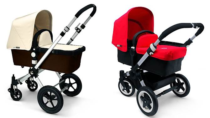 This photo combo of photos provided by the U.S. Consumer Product Safety Commission and Health Canada shows Bugaboo Cameleon, left, and Bugaboo Donkey Model Strollers, right, that are being recalled due to fall and choking hazards. A button on the stroller's carrycot/seat carry handle can become disengaged and cause the handle to detach, posing fall and choking hazards to young children. (AP Photo/U.S. Consumer Product Safety Commission and Health Canada)