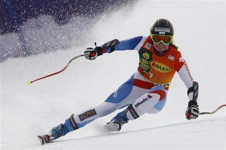 Schild of Switzerland clears a gate during the women's Alpine Skiing World Cup Super G race in Bansko