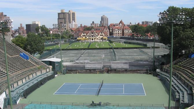 This Sept. 1, 2011 photo provided by the West Side Tennis Club show's the club's stadium and grounds in the Forest Hills neighborhood of the Queens borough of New York. The stadium that was one of the cathedrals of tennis and hosted U.S. Open tennis for six decades, as well music greats, is planning to revive the sound of music at the 16,000-seat venue and perhaps, one day, bring back big-time professional tennis. (AP Photo/West Side Tennis Club)