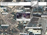 A combination of satellite images of the town of Tall Daww, Haoula in Syria, shot by a DigitalGlobe satellite and annotated and released to Reuters by the U.S. government on June 1, 2012, shows a May 18, 2012 aerial photo of a square in Tall Daww (L) and the same square in an image (R) taken May 28, 2012. U.S. Government officials point to the dotted area in the May 28, 2012 image as showing ground that had been recently disturbed and refer to it as a probable mass burial site. To match story SYRIA-CRISIS/USA-EVIDENCE REUTERS/DigitalGlobe via the U.S. Government/Handout