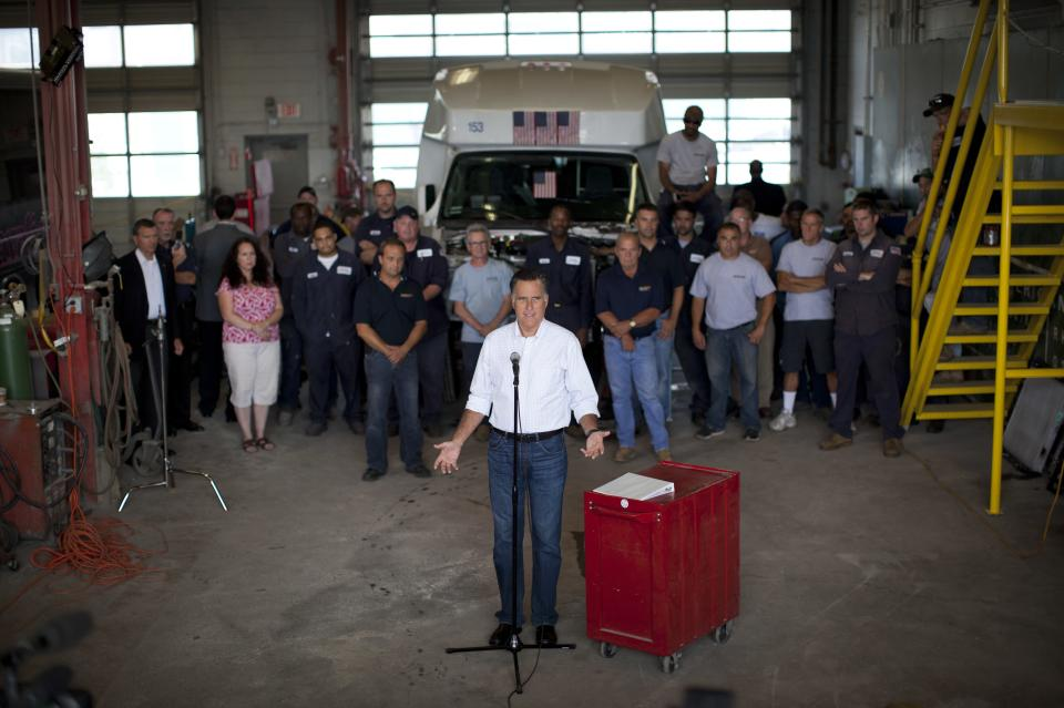 Republican presidential candidate, former Massachusetts Gov. Mitt Romney makes a statement on jobs during a campaign stop at Middlesex Truck and Coach on Thursday, July 19, 2012 in Roxbury, Mass.  (AP Photo/Evan Vucci)