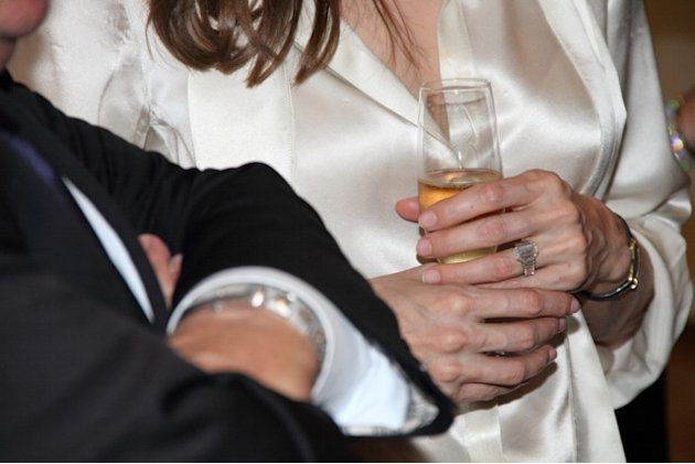 Actress Angelina Jolie, sports an engagement ring as she and Brad Pitt, view works from the Chinese collection at the The Los Angeles County Museum of Art, in Los Angeles Thursday April 12, 2012. Pitt
