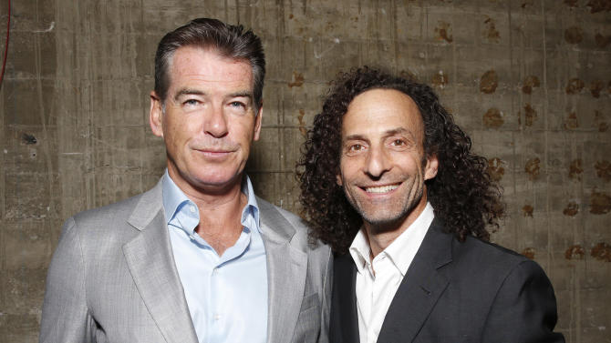 """EXCLUSIVE Pierce Brosnan and Kenny G attend the premiere Of Sony Picture Classics' """"Love Is All You Need"""", on Thursday, April, 25, 2013 in Hollywood, California. (Photo by Todd Williamson/Invision for Sony Pictures Classics/AP Images)"""