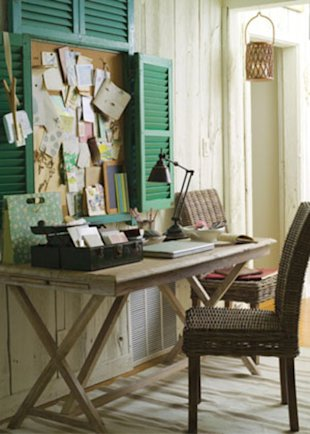 Make a Rustic Cork Board with Old shutters