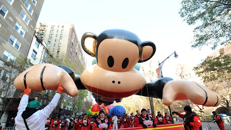 Paul Frank's Julius balloon gets ready for the Macy's Thanksgiving Day Parade, Thursday Nov. 22, 2012, in New York.  (Photo by Diane Bondareff/Invision for Saban Bramds/AP Images)