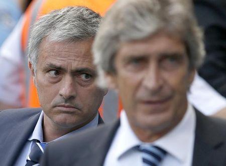 Chelsea manager Mourinho and Manchester City manager Pellegrini walk out onto the pitch ahead of their English Premier League soccer match at the Etihad stadium in Manchester