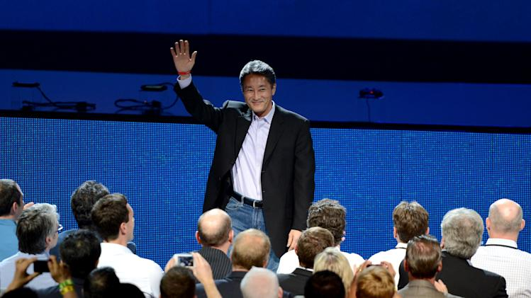 COMMERCIAL IMAGE - In this image provided by Sony Computer Entertainment America, Kazuo Hirai, President and CEO, Sony Global, addresses the crowd during the Sony Playstation press conference at E3 on Monday, June 4, 2012 in Los Angeles. (Chris Week/AP Images for Sony Computer Entertainment America)