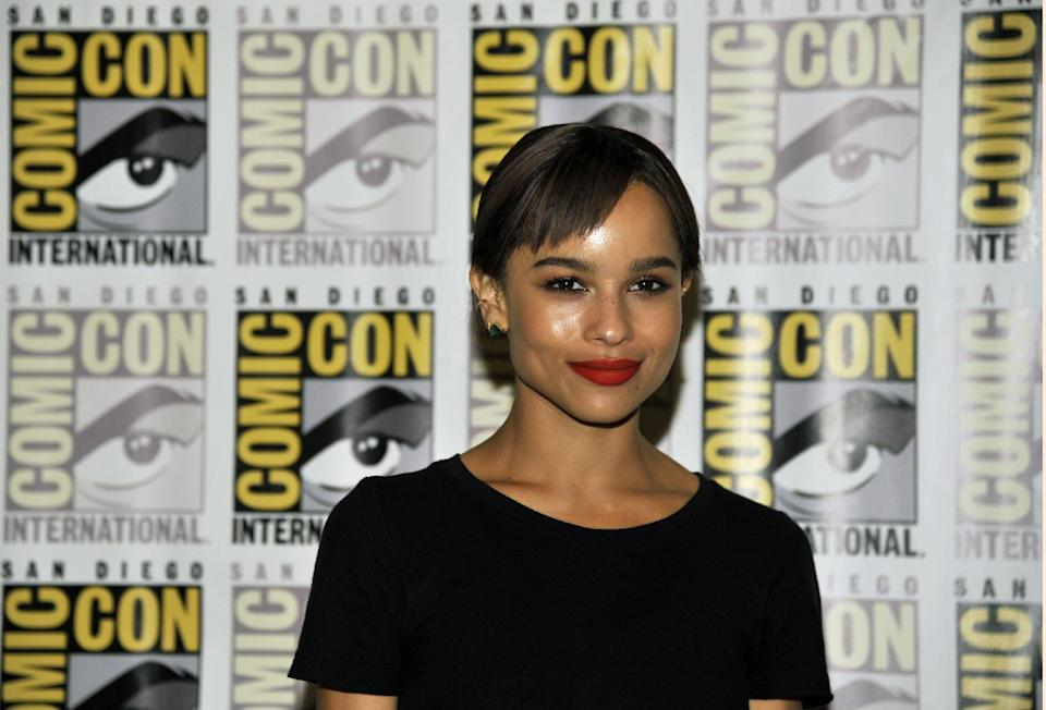 "Zoe Kravitz attends the ""Divergent"" press line on Day 2 of Comic-Con International on Thursday, July 18, 2013 in San Diego, Calif. (Photo by Chris Pizzello/Invision/AP)"
