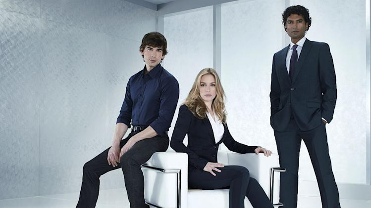 "Christopher Gorham as Auggie Anderson, Piper Perabo as Annie Walker, Sendhil Ramamurthy as Jai Wilcox in ""Covert Affairs."""