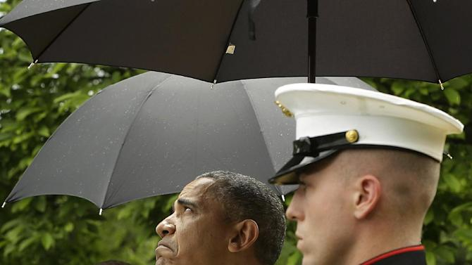 President Barack Obama, accompanied by Turkish Prime Minister Recep Tayyip Erdogan checks for rain during their joint news conference in the Rose Garden of the White House in Washington, Thursday, May 16, 2013. (AP Photo/Pablo Martinez Monsivais)