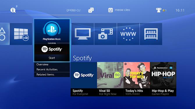 This undated image provided by Sony Computer Entertainment America shows a screen grab of tiles of Spotify on Playstation 4. Sony announced that it was ditching its own Music Unlimited service in favor of Spotify. Spotify arrives on the PlayStation 3 and 4 on Monday, March 30, 2015, with a new Spotify app adapted for large television screens. (AP Photo/Sony Computer Entertainment America)