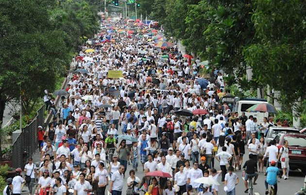 This file photo shows thousands of protesters gathering for a rally against corruption at a park in Manila, on August 26, 2013