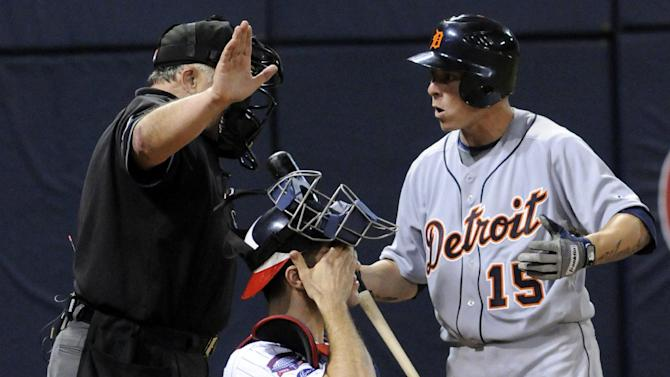 FILE - In this Oct. 6, 2009, file photo, Detroit Tigers' Brandon Inge argues with home plate umpire Randy Marsh after Inge thought he was hit by a pitch from Minnesota Twins' Bobby Keppel during the 12th inning of a baseball game for the American League Central title in Minneapolis. Marsh ruled that Inge was not hit despite the replay appearing to show it grazing Kinge's billowing uniform, and the Twins won 6-5 in 12 innings to advance to the playoffs. The Associated Press takes a look at the nine one-game playoffs in major league history. (AP Photo/Jim Mone, File)