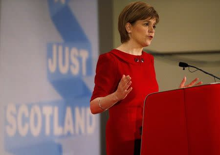 Scottish National Party (SNP) leader Nicola Sturgeon addresses the Scottish Trade Union Congress during a campaign visit to in Ayr, Scotland