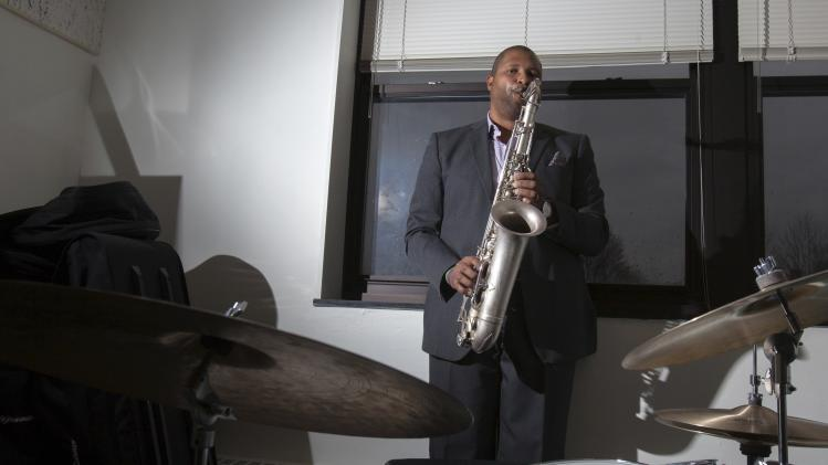 Greene, a jazz musician and father of 6-year-old Marquez-Greene who was killed in the Sandy Hook Elementary School massacre, poses in Danbury, Connecticut