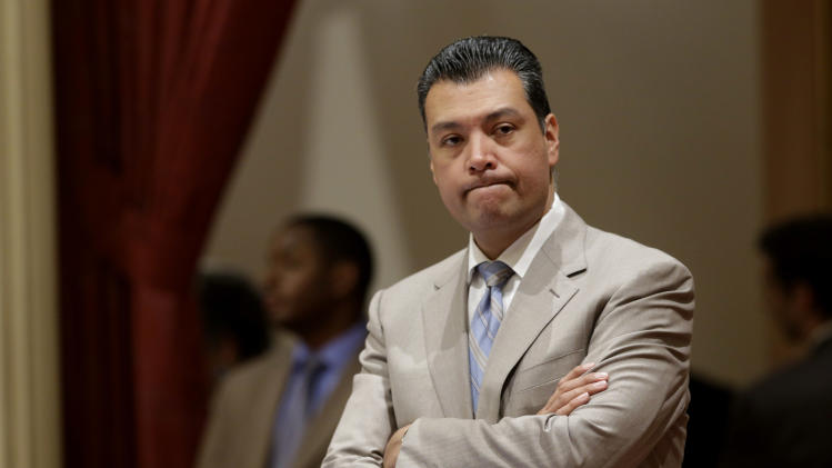 Sen. Alex Padilla, D-Los Angeles, listens to the debate over his bill that would make California the first state to ban single-use plastic bags, Friday, Aug. 29, 2014, at the Capitol in Sacramento, Calif. By a 22-15 vote, the Senate approved SB270 and sent it to the governor.(AP Photo/Rich Pedroncelli)