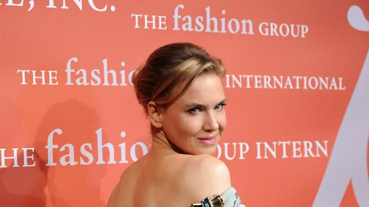 "Actress Renee Zellweger attends the 29th Annual ""Night Of Stars"" presented by The Fashion Group International at Cipriani Wall Street on Thursday Oct. 25, 2012 in New York. (Photo by Evan Agostini/Invision/AP)"