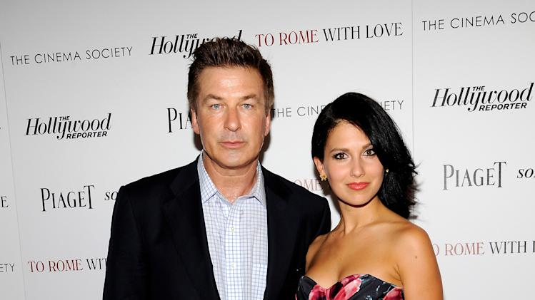 """Actor Alec Baldwin and his fiancee Hilaria Thomas arrive at a special screening of """"To Rome With Love"""" hosted by The Cinema Society with The Hollywood Reporter & Piaget at the Paris Theatre on Wednesday June 20, 2012 in New York. (Photo by Evan Agostini/Invision/AP)"""