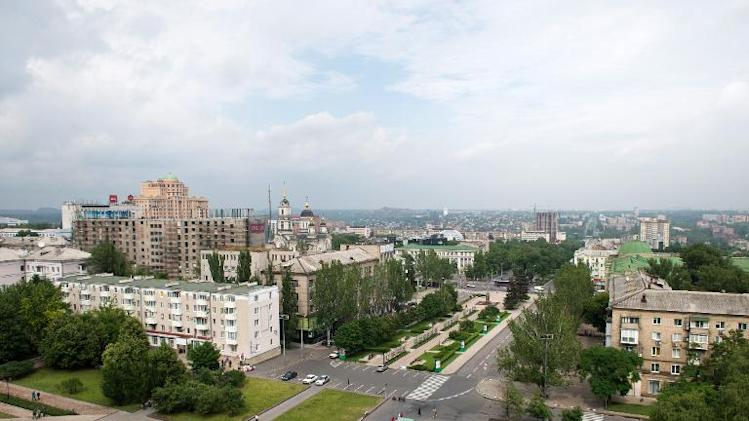 A view of the city of Donetsk from a window of Radio Republic on June 18, 2014