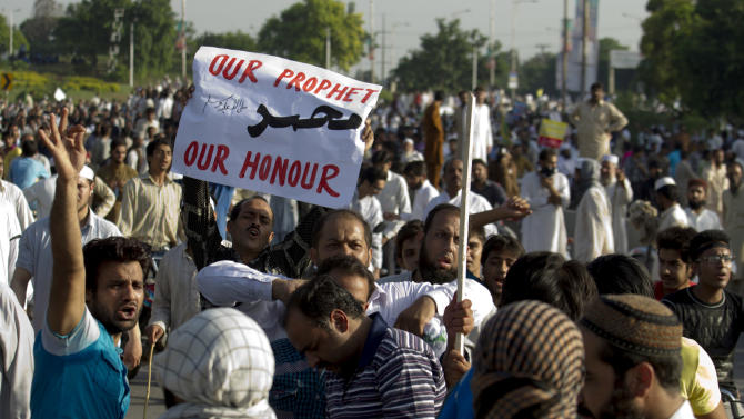 Pakistani protesters rally in Islamabad, Pakistan on Thursday, Sept. 20, 2012. Hundreds of Pakistanis angry at an anti-Islam film that denigrates the religion's prophet clashed with police in the Pakistani capital Thursday, the most violent show of anger in a day that saw smaller demonstrations in Indonesia, Iran and Afghanistan. (AP Photo/B.K. Bangash)