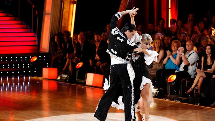 "Shawn Johnson and Mark Ballas perform the Paso Doble to ""So What"" by Pink on ""Dancing with the Stars."""