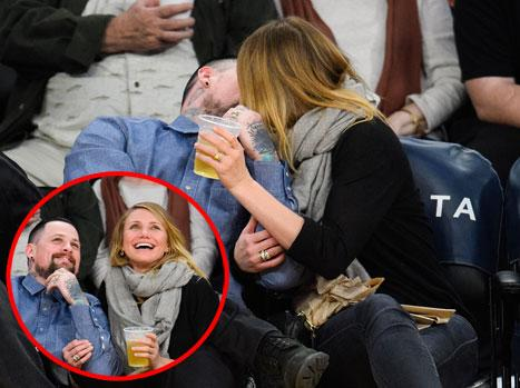 Cameron Diaz, Benji Madden Smooch For the Kiss Cam at First Post-Wedding Appearance at L.A. Lakers Game