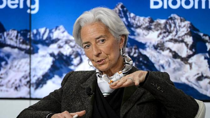 Managing director of the International Monetary Fund (IMF), Christine Lagarde, speaks during a session of the World Economic Forum annual meeting, in Davos, on January 22, 2015