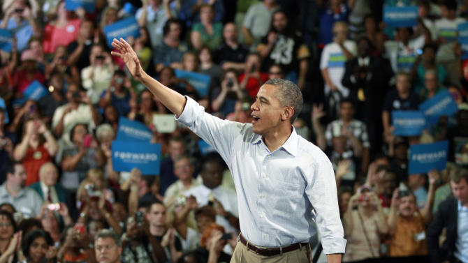 President Barack Obama waves to supporters after speaking at a campaign event, Sunday, Sept. 9, 2012, in Melbourne, Fla. (AP Photo/John Raoux)