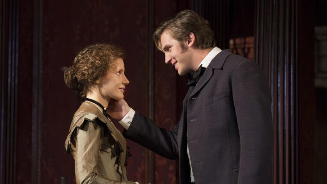 "This theater image released by Boneau/Bryan-Brown shows Jessica Chastain, left, and Dan Stevens in a scene from ""The Heiress,"" during a performance at the Walter Kerr Theatre in New York. The show's producers said Monday, Feb. 4, 2013, the production will recoup its $3 million capitalization by the time the show closes on Saturday. By then, ""The Heiress"" will have played 27 previews and 117 regular performances. (AP Photo/Boneau/Bryan-Brown, Joan Marcus)"