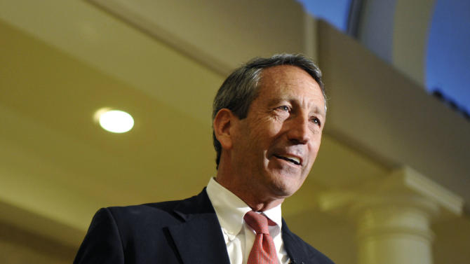 FILE – In this April 30, 2013, file photo former South Carolina Gov. Mark Sanford speaks to supporters during a campaign stop at the Historic Rotary Club of Charleston at the Citadel in Charleston, S.C.  In a bizarre campaign that has roiled the state, Sanford and Democrat Elizabeth Colbert Busch are locked in a surprisingly contentious contest to win a House seat in a solidly Republican district along the South Carolina coast. The special election is Tuesday, May 7. (AP Photo/Rainier Ehrhardt, File)