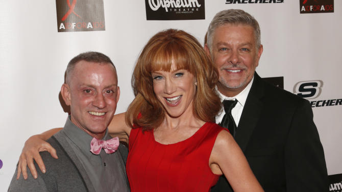 Director Jeffrey Drew, Kathy Griffin and Patrick Rush attends the Best in Drag show at The Orpheum Theatre on Sunday, Oct. 7, 2012, in Los Angeles. (Photo by Todd Williamson/Invision/AP)