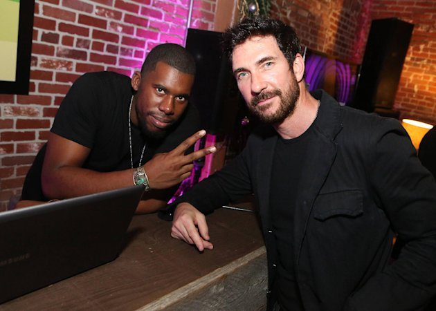 IMAGE DISTRIBUTED FOR MICROSOFT - Dylan McDermott, right, and DJ Flying Lotus are seen at the Microsoft All Access Hot Holiday Party, on Thursday, Dec. 6, 2012 in Venice Beach, Calif. (Photo by Casey
