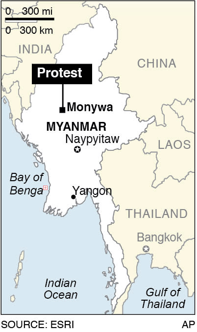 Map locates the town of Monywa near where there have been crack downs on mining protests;