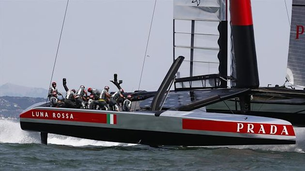Luna Rossa Challenge rounds mark one of race three of the Louis Vuitton Cup challenger series yacht race against Emirates Team New Zealand in San Francisco (Reuters)