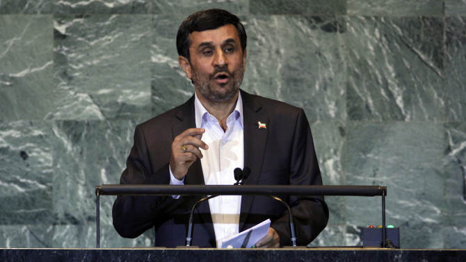 FILE- In this Thursday, Sept. 22, 2011 file photo, Iran's President Mahmoud Ahmadinejad addresses the 66th session of the United Nations General Assembly. As Iran's president crafts his talking points for his annual trip to New York, one message is likely to remain near the top: Tehran has not closed the door on nuclear dialogue and is ready to resume negotiations with world powers.(AP Photo/Richard Drew, File)