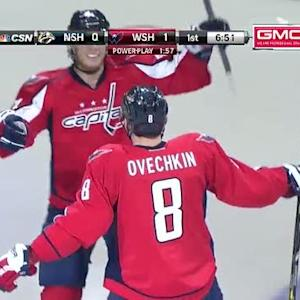 Alex Ovechkin blows one past Marek Mazanec